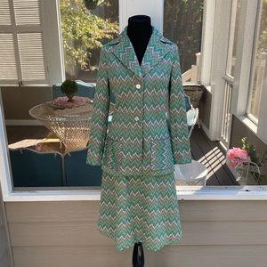 Vintage 70s Chevron Blazer Aline Skirt Suit Set